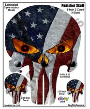 6.5 Inch Punisher Skull Decals American Flag. Laminated 3 Count