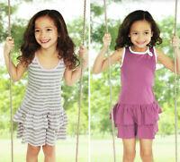 Mädchen Kleid Sommerkleid Kinder Lila Rosa gestreift 100% Baumwolle Öko-Tex Baby