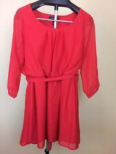 Derek Heart Women Red Dress L Sheer Arms - Body Lined