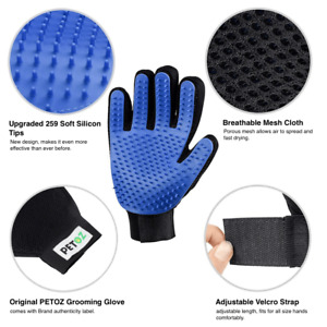 PETOZ Pet Grooming Glove Shedding Brush Fur Remover Mitt for Dog & Cat