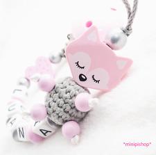 Schnullerkette mit Namen★ XL Träum Fuchs  ★ Baby Mädchen ♥ silber rosa Geschenk