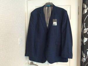 "GENTS DRESS SUIT JACKET - SCOTT - 52"" CHEST - REGULAR - BLUE - SILVER LINING"