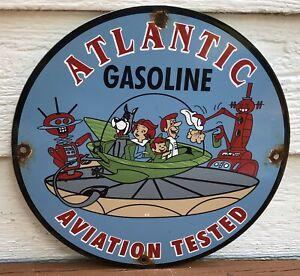 VINTAGE 1963 DATED PORCELAIN JETSONS ATLANTIC GASOLINE GAS AND OIL SIGN