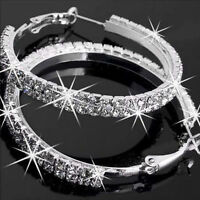 Women Sparky Diamante Rhinestone Crystal Silver Hoop Earrings Hoops Party Gifts