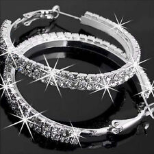 Sparky Diamante Rhinestone Crystal Silver Hoop Earrings Women Hoops Party Gifts