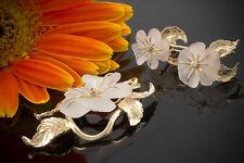Schmuck Bergkristall Schmuckset Anhänger Ohrringe Blume Brillant in 585 Gelbgold