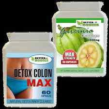 60 GARCINIA CAMBOGIA 1000MG + 60 DETOX MAX COLON CLEANSE WEIGHT LOSS DIET PILLS