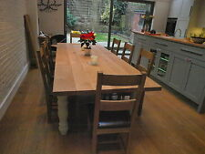 8,10,12-14 Seater Oak Double width Farmhouse DiningTable,  Oak top, any colour