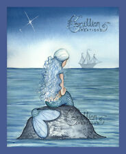 ALONE Blue Mermaid Print from Original Painting By Camille Grimshaw fairy