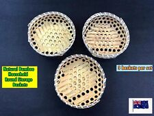 Set of 3 Natural Bamboo Round Household Storage Baskets Tray (A33)