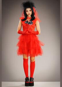 Womens Halloween Beetlejuice Bride Adult Fancy Dress Costume Red Lydia Horror