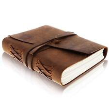 Journal Vintage Bound Handmade Leather Cover Notebook Men Women Diary Brown