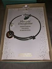 FootNOTES Stainless Steel Heart Key Mother Daughter Expandable Silver Bracelet