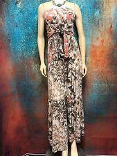 Aviraté ~ Women's Maxi Dress Tan / Peach Tube Top Bohemian Tie Waist Size 8