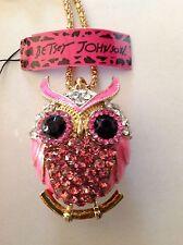 "PINK CRYSTAL OWL Enamel 28"" Pendant Necklace Betsey Johnson"
