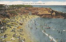 La Jolla CA * The Cove  ca. 1940s * Beach and Bathers   1953 Postmark