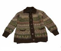 Vtg Pure Wool Icelandic Handmade Metal Button Cardigan Sweater Womens Size Small
