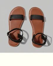NWT Abercrombie & Fitch Womens Brown Black Leather Flip Flops Sandals L 9/10 New