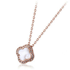 18K Rose Gold Made with Swarovski Elements White Van Style Flower Necklace