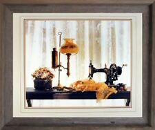 Country Sewing & Old Lamp Still Life Fine Wall Art Decor Barnwood Framed Picture