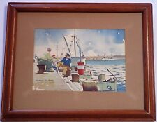 WPA STYLE INDUSTRIAL PAINTING NAUTICAL PORT 1930'S DOCK WORKERS ANTIQUE LISTED