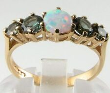 CLASSIC 9K GOLD OPAL & GREEN TOURMALINE HALF ETERNITY VINTAGE INS RING FREE SIZE