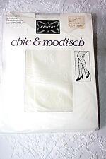 Original 70er Jahre Kunert Nylons gemustert Strumpfhose Gr. 44 Weiß 20 Den