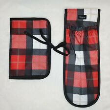 Thirty-One Style Sleeve & Jewelry Case Check Mate Red & Black Plaid Print EUC