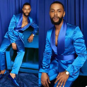 Satin Men Suits Coat Jacket Pants Belt Wedding Groomsmen Office Fomal Tuxedos