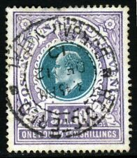 NATAL SOUTH AFRICA KE VII 1902 £1 10s. Green & Violet USED POSTALLY SG 143 VFU