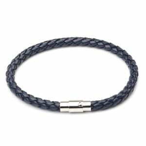 Men Braided Leather Punk Bracelet Stainless Steel Magnetic Clasp Bangle Jewelry