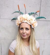 Festival Feather Flower Headband Large Boho Headdress Headpiece Peach Rose 2976