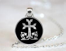 Armenian Cross Tibetan silver Dome glass Art Photo Chain Pendant Necklace