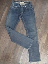 HENRY DUARTE WOMENS SZ 27 DARK WASH STRAIGHT LEG LOGO HARDWARE DENIM JEANS