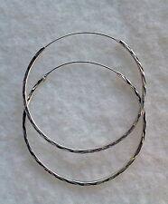 """#17 STERLING SILVER 925 PIERCED MEDIUM 1-5/8"""" HOOP EARRINGS MADE IN CZECH"""