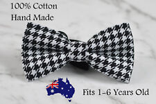 Baby Boy Kids 100% Cotton Black White Houndstooth Bow tie Bowtie 1-6 Years old