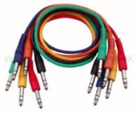 6 STEREO Balanced Jack Patch Leads with Straight Plugs 30cm long - FL1230