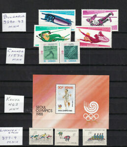 Four MNH different 1988 Olympic sets Calgary Winter and Seoul Summer
