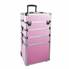 Makeup Train Case 4 in 1 Professional Cosmetics Rolling Organizer Aluminum Frame