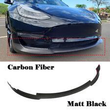 For Tesla Model 3 2016-2018 Front Bumper Lip Spoiler Carbon Fiber Matt Black