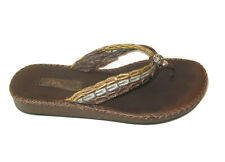 Brighton Gilda Sandals Womens Sz 8 M Flip Flops Gold Bronze Silver Leather Strap