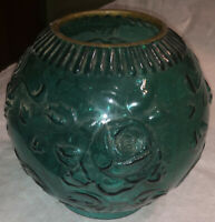 Victorian As IS Gone With The Wind Rose Shade Green Repaired Glass