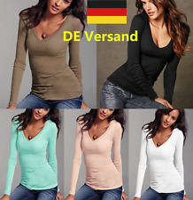 DE Damen V-Ausschnitt Langarm Sommer Lässig Blusen Shirt Oberteil Tops T-shirt