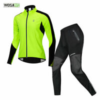 Mens Winter Cycling Sets Jacket Trousers Windproof Fleece Jersey Pants Road Bike
