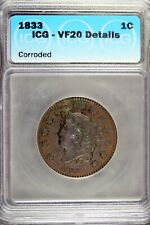 1833 - Icg Vf20 Details Corroded Coronet Head Large Cent! #B18604