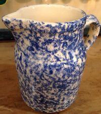 Roseville BLUE Sponge Ware Pitcher  24oz Nice for Milk, creamer spongeware decor