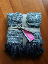 """West Elm Coziest Throw Blue/Gray Space Dyed Fringe 44"""" x 56""""  NEW with tags"""