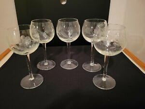 """Set of 5 Vintage Stemmed Claret Wine Glasses Round Etched Floral 6 1/2"""""""