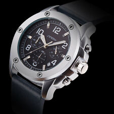 Waterproof Mens Luxury Sports Chronograph Vintage Military Leather Wrist Watches