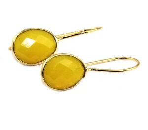 Oval Opalite Chalcedony Monalisa Quartz Gold Plated Hook Drop Dangle Earring